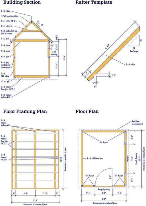 shed plans  foundation plans rafter template cool