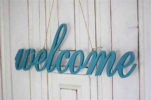 personalizing interior decorating with diy wooden letters With welcome wooden letters