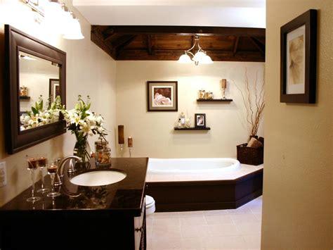 contemporary neutral bathroom  dark wood accents hgtv