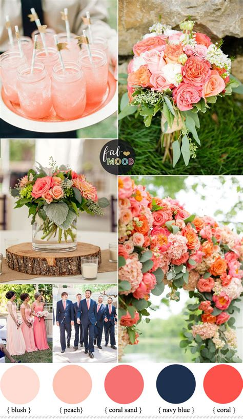blue wedding color schemes coral and navy blue wedding color scheme summer wedding