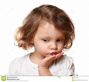 Cute Thinking Kid Girl With Hand Stock Photo - Image: 35673582