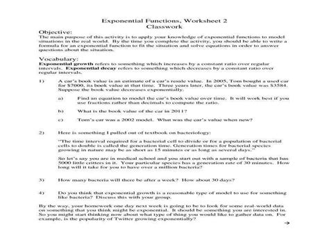 exponential word problems worksheet with answers exponential growth and decay worksheet homeschooldressage com