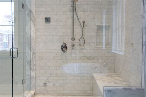 tiled shower seat marble shower bench contemporary bathroom terra verre