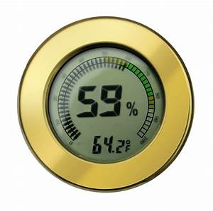 Digital Calibrateable Cigar Humidor Hygrometer Thermometer Round Gold 2 5 Inch