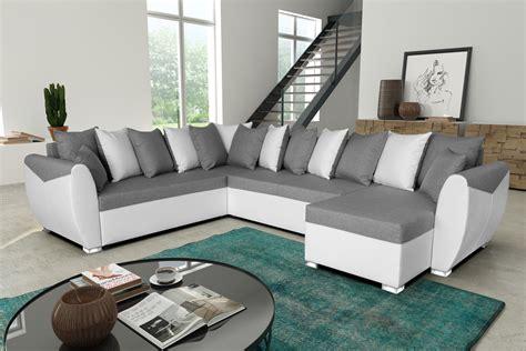 canape d angle contemporain canap 233 d angle panoramique contemporain r 233 versible et convertible en tissu gris pu blanc benji