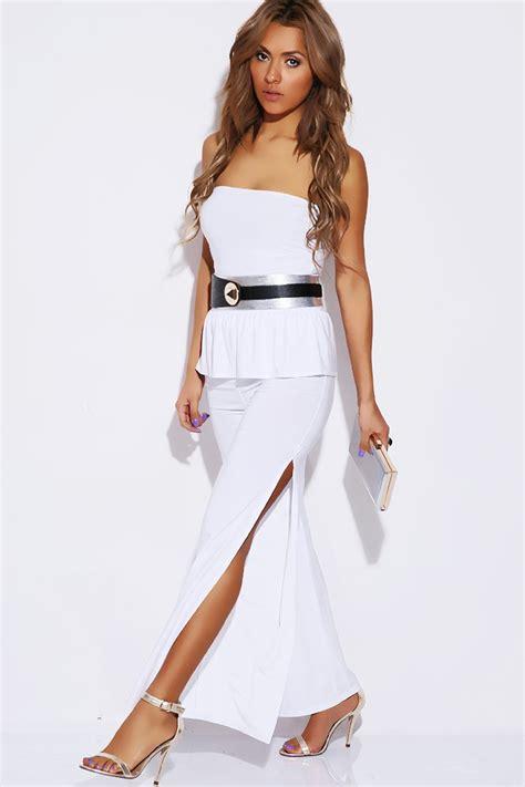 white peplum jumpsuit peplum high split jumpsuit white sophisticates closet