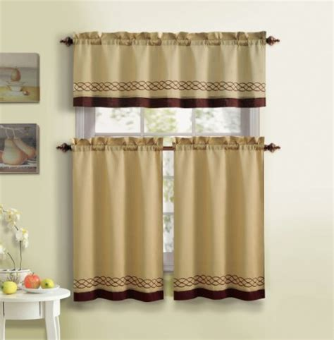 solid color kitchen curtains 3 kitchen curtain set 1 valance 2 tiers solid 5596