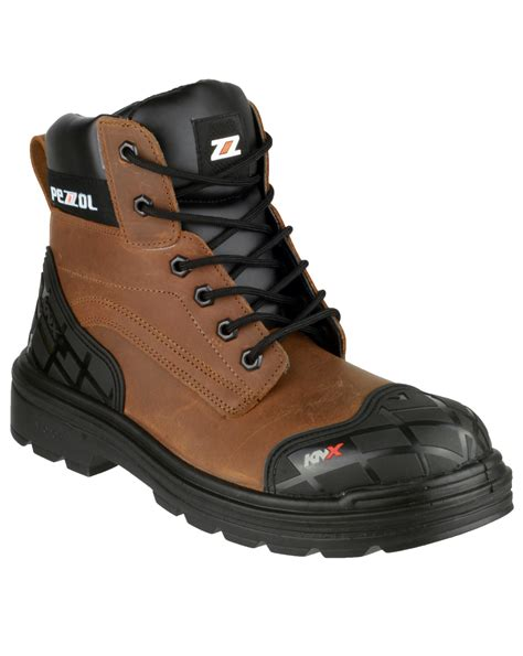 Pezzol Amazon 649 Mens Safety Boots Brown Footwear Work