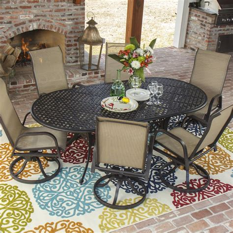madison bay 6 person sling patio dining set with swivel
