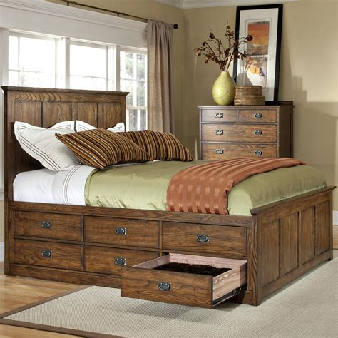 Beds With Drawers by Intercon Oak Park Mission Bed With Twelve Underbed