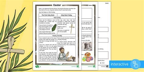 ks easter differentiated comprehension worksheet