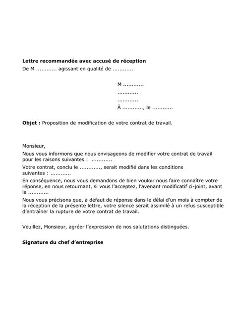 Modification De Contrat De Travail Monaco by Proposition De Modification D Un Contrat De Travail Doc