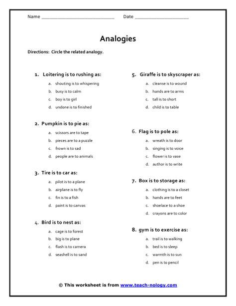 Common Worksheets » Analogy Worksheets For 5th Grade  Preschool And Kindergarten Worksheets