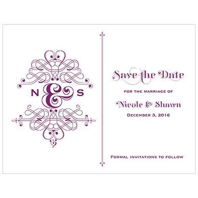 Fanciful Monogram Save The Date Card Save the date cards