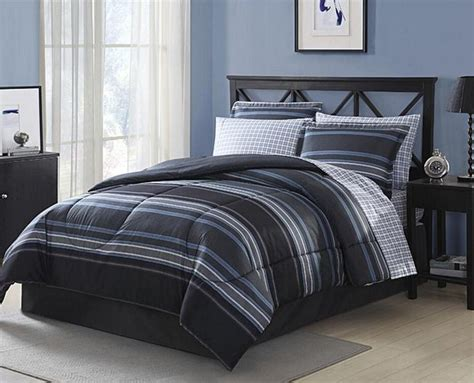 Black Grey White Blue Striped Plaid 6 Piece Comforter
