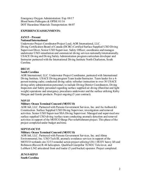 Diver Commercial Resume