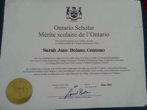 resume ontario secondary school diploma achievements centeno e portfolio