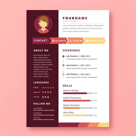 Graphic Design Resume Template by Graphic Designer Resume Free Vector Stock