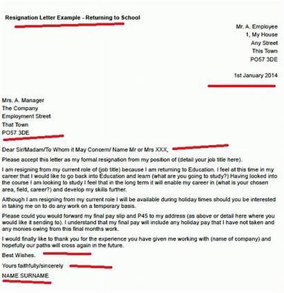 Resignation Letter Returning Going Example Template Letters