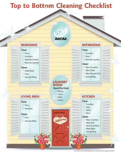 top  bottom cleaning checklist imom