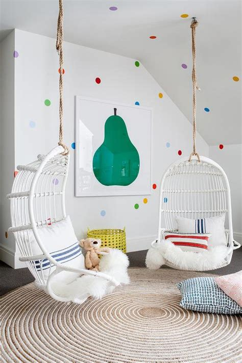 girls room  white hanging chairs contemporary girl
