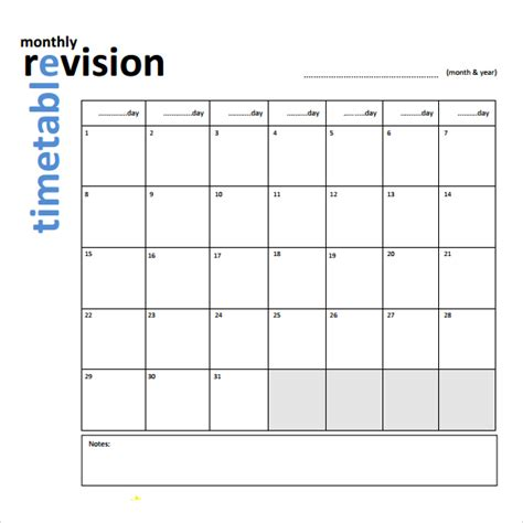 Blank Revision Timetable Template by Revision Timetable Template Excel Calendar Template Excel
