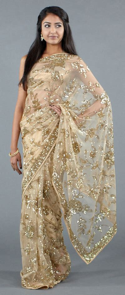 And Gold Sari luxemi gold sequined sari jpg 401 215 947 apparlove