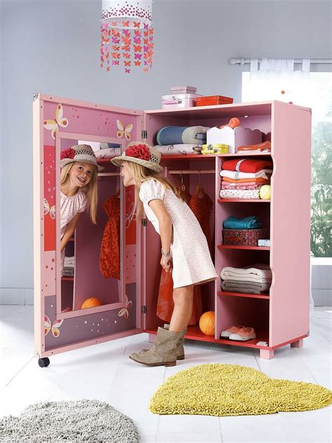 armoire pour chambre fille armoire dressing miss butterfly blanc imprimé