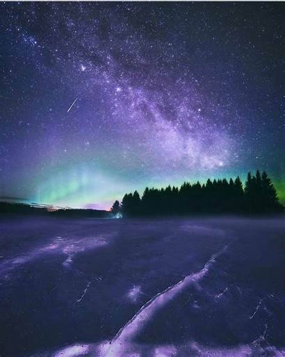 Finland Night Sky Polar Stars Lights