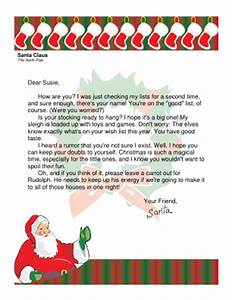 letter from santa to older child who might not believe With childs letter to santa