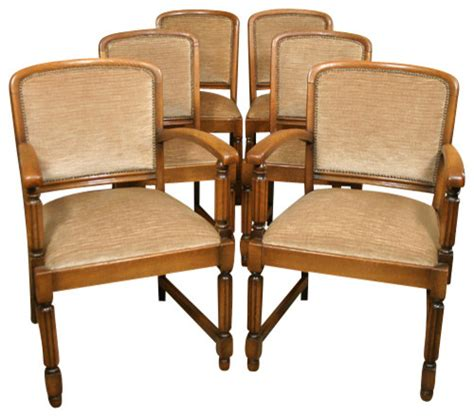 antique set 6 solid golden oak dining chairs with beige