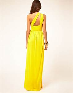 Lyst - Miss Sixty Maxi Dress With Asymmetric Straps in Yellow
