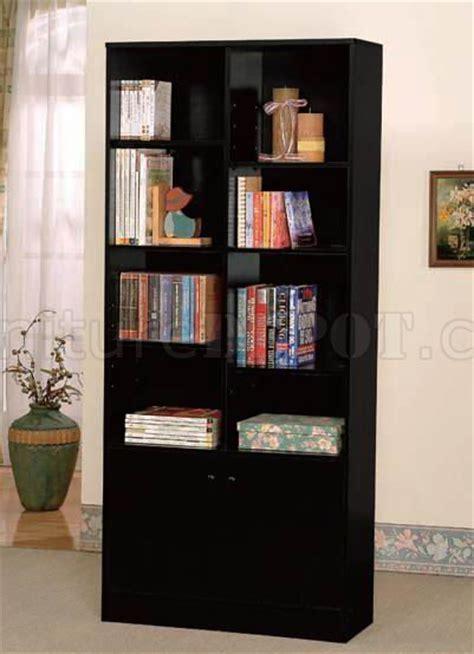 black finish modern bookcase wtwo doors shelves
