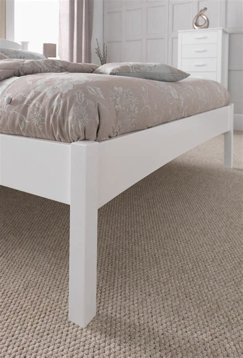 White Low Bed Frame by Serene Eleanor 4ft6 White Wooden Bed Frame With Low