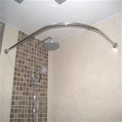 details about curved bath shower curtain rod rail in white