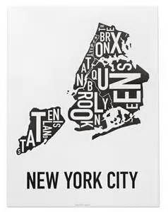 Black and White New York City Boroughs Map