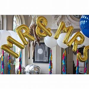 Mr and mrs jumbo metallic letters by bubblegum balloons for Mr and mrs letter balloons