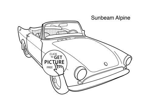 Super Car Sunbeam Alpine Coloring Page For Kids, Printable