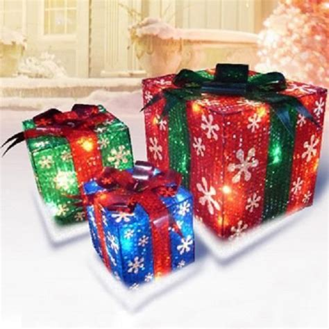 set   lighted christmas gifts presents outdoor pre lit