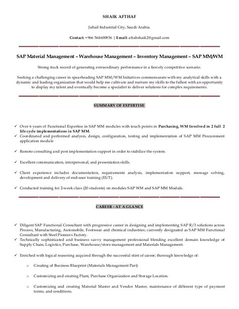 sap mm wm functional consultant resume shaik afthaf sap mm wm consultant resume