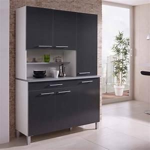 Buffet de cuisine avec 6 portes et 1 tiroir largeur 120cm for Petite cuisine équipée avec meuble buffet vaisselier