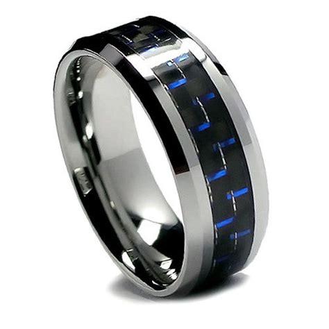 8mm men s tungsten ring wedding band black and blue carbon fiber beveled edge ebay