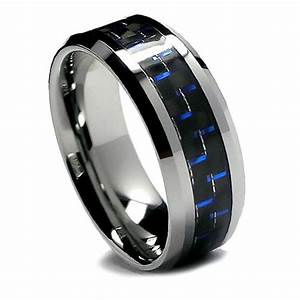 8MM Men39s Tungsten Ring Wedding Band Black And Blue