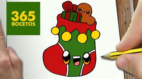 como dibujar un calcetin para navidad paso a paso dibujos kawaii navide 241 os how to draw a sock