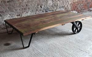 Roue Industrielle Pour Table Basse : table basse deco industrielle ~ Nature-et-papiers.com Idées de Décoration