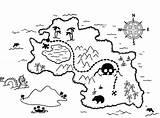 Treasure Coloring Map Pirate Maps sketch template