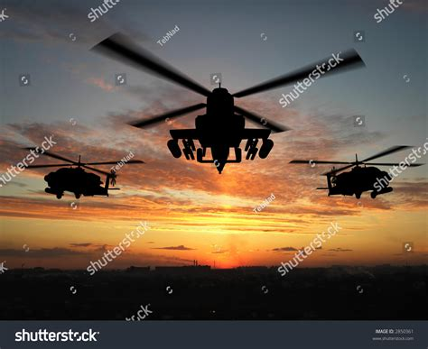 Silhouette Helicopter Over Sunset Stock Illustration