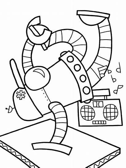 Robot Coloring Pages Robots Dancing Printables Roboti