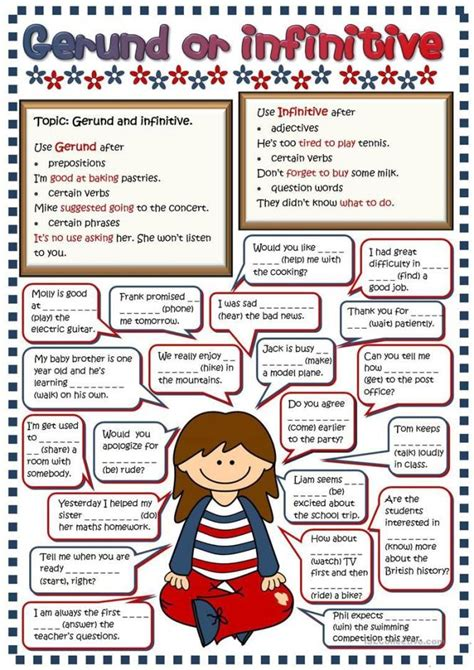 gerund  infinitive exercises grammar practice worksheets