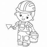 Mortar Cartoon Worker Concrete Construction Outline Coloring Job Cement Vector Clip Trophy Illustrations Builder Education sketch template